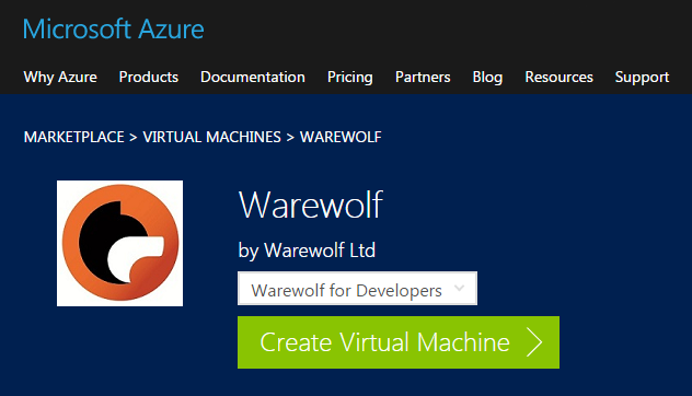 Warewolf VM in Azure Marketplace