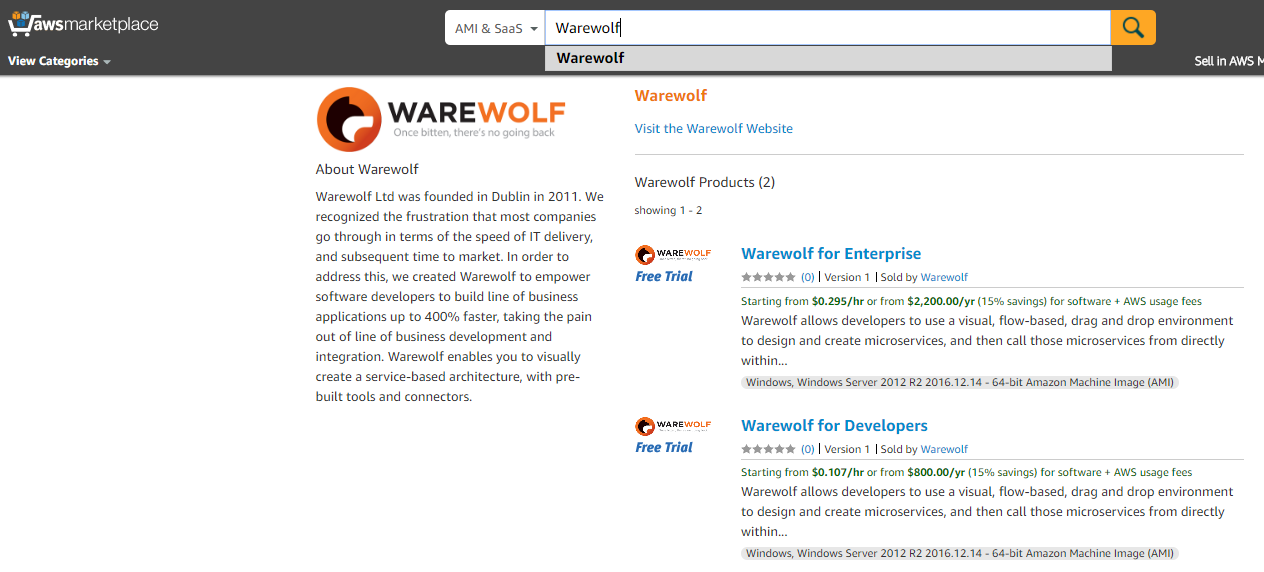 Warewolf HVM Amazon web services