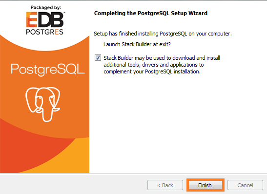 Screenshot of Complete the PostgreSQL Setup Wizard used in the Warewolf Blog