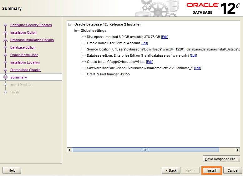 Screenshot of Oracle Database 12c Install for Warewolf Blog