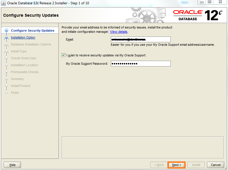 Screenshot of Oracle security updates configuration for Warewolf Blog