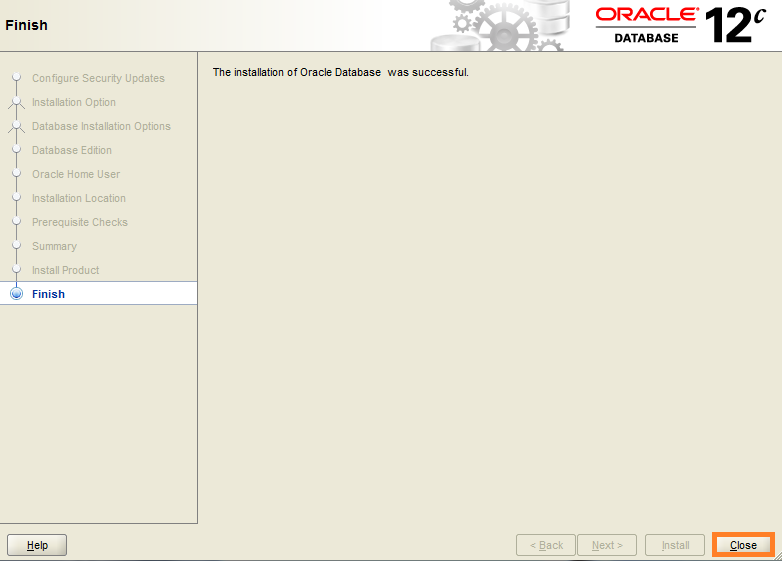 Screenshot of Oracle Installation Finished for Warewolf Blog