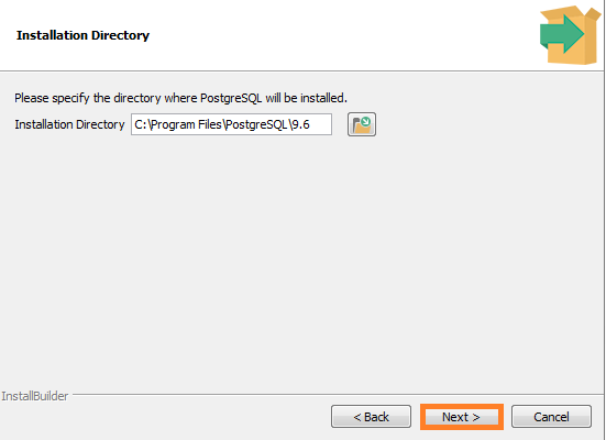 Screenshot of Installation Directory for PostgreSQL Database Installation used in the Warewolf Blog
