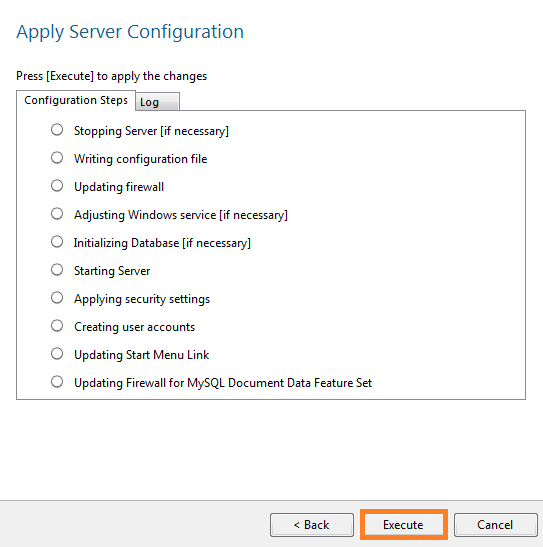 warewolf blog - mysql - execute the server configuration