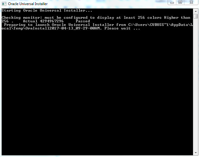 Screenshot of Starting Oracle Universal Installer