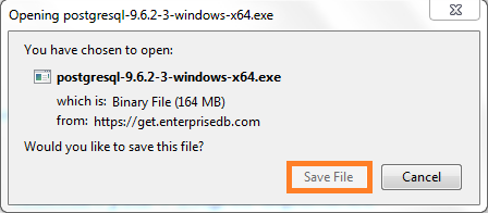 Screenshot of Run - PostgreSQL download used in the Warewolf Blog