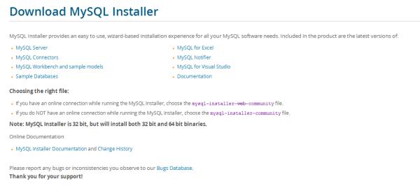 warewolf blog - mysql - download mysql installer