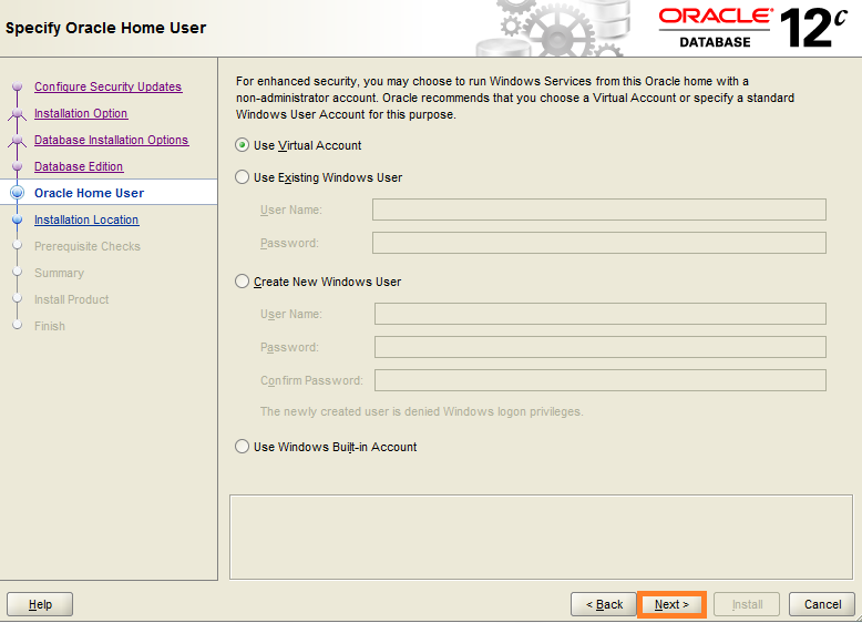 Screenshot of Specify Oracle Home User - for Warewolf Blog