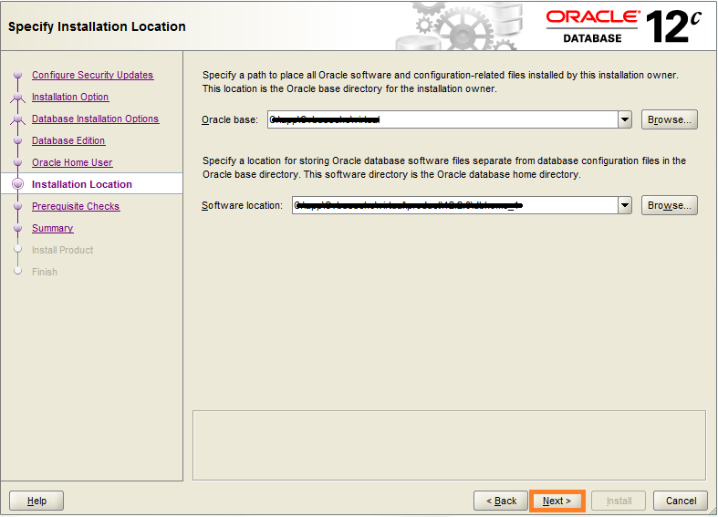 Specify Installation Location - Oracle Database 12c for Warewolf Blog