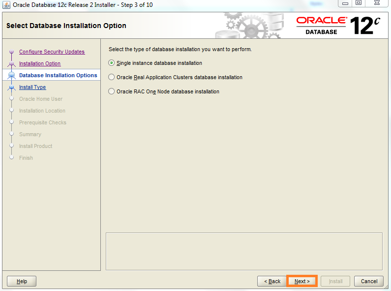 Screenshot of Select Database Installation Option - Oracle Database 12c for the Warewolf Blog