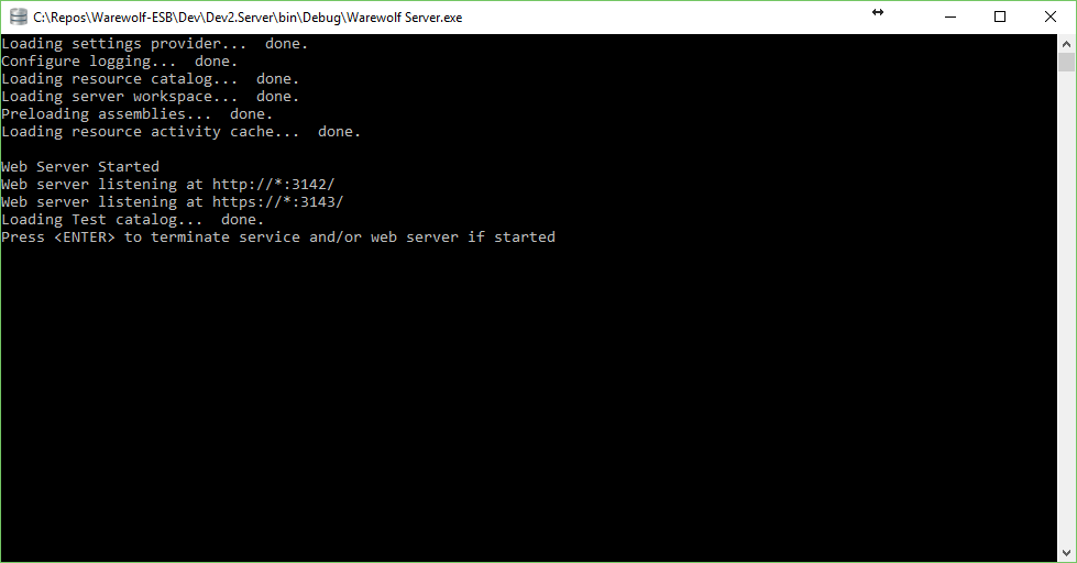 Successful Server Start as seen in the Building Warewolf form a source Knowledge Base Article