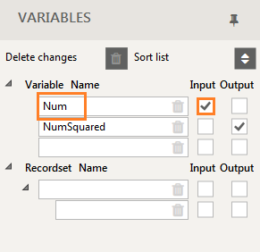 Variables used in Warewolf showing Input and output
