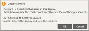 Deploy conflicts that show when using the deploy function in warewolf