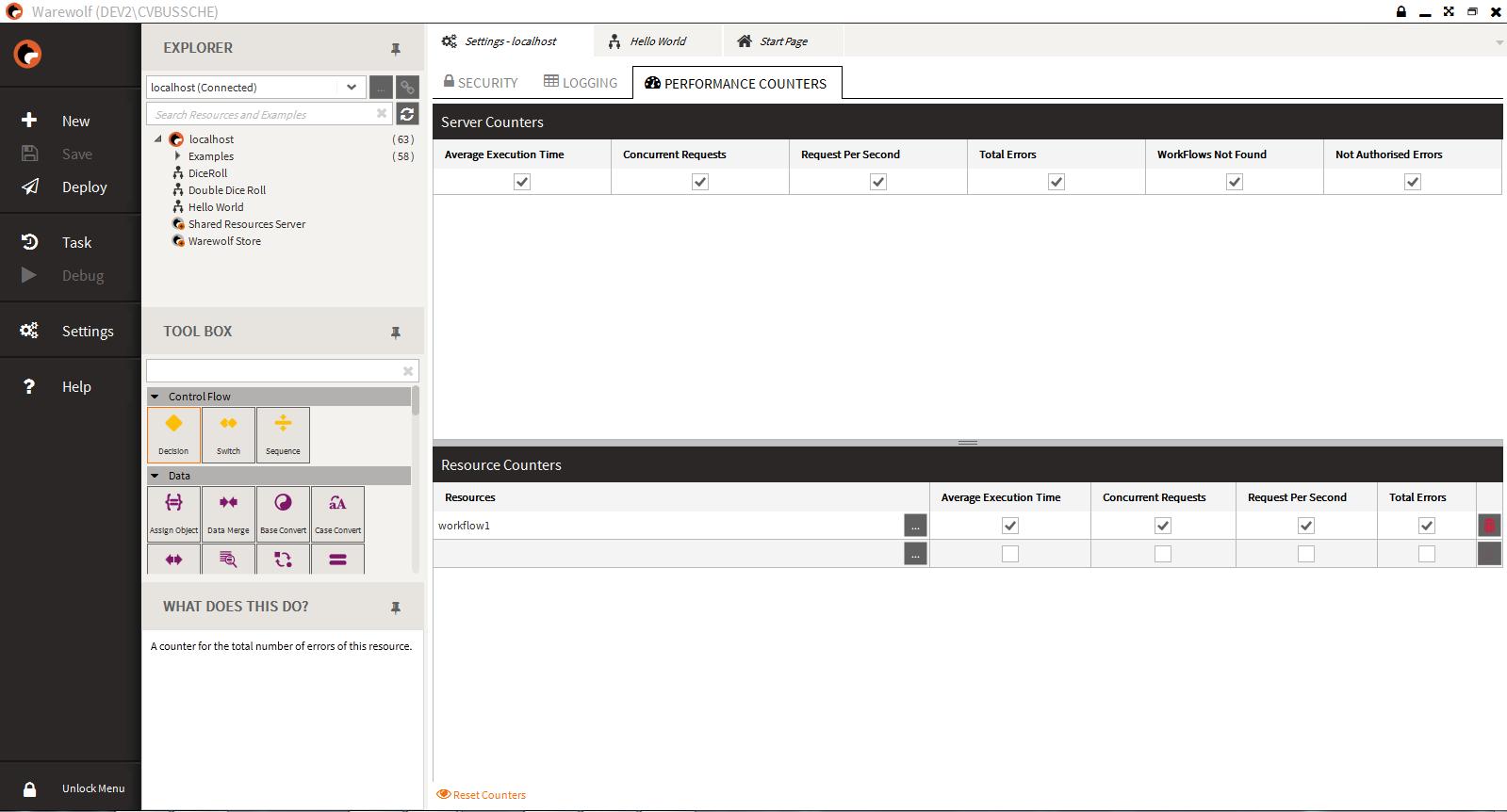 Screenshot of the Warewolf Studio Performance Counters