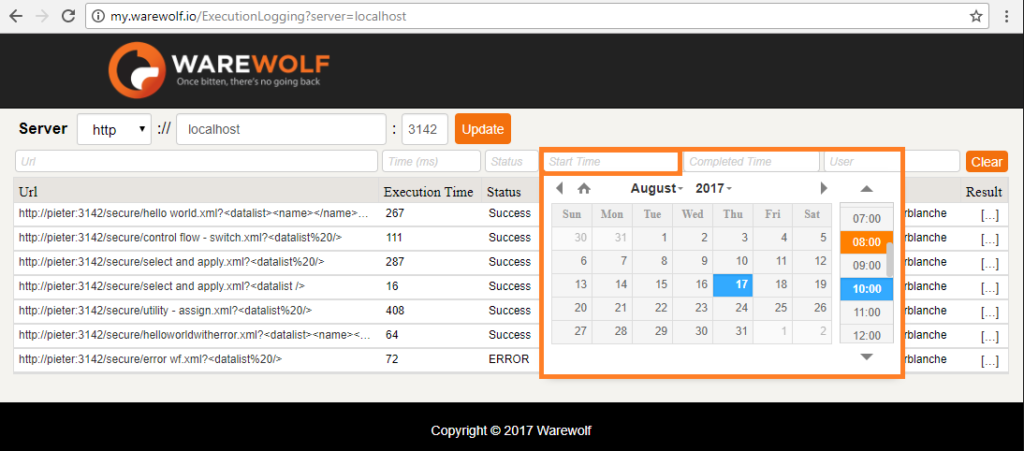 Screenshot of Filter by start time as seen in the Warewolf Knowledge Base article on Execution Logging
