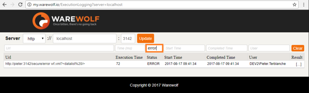 Screenshot of Filter by Status as seen in the Warewolf Knowledge Base article on Execution Logging