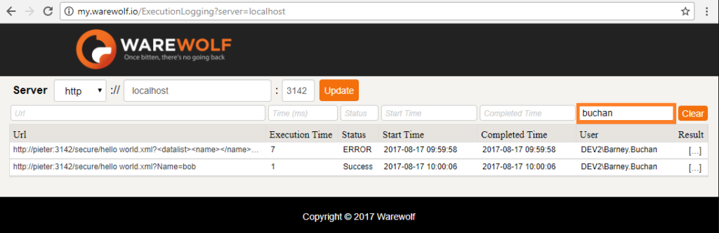 Screenshot of Filter by user as seen in the Warewolf Knowledge Base article on Execution Logging