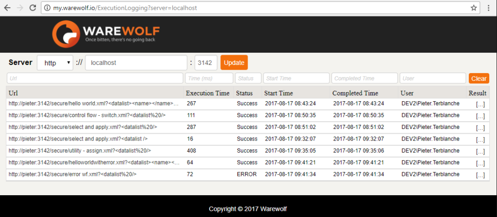 Screenshot of the Execution logging screen as seen in the Warewolf Knowledge Base article on Execution Logging