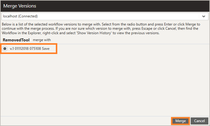 Merge Versions Screenshot as seen in the Merging workflows article in the Warewolf knowledge base