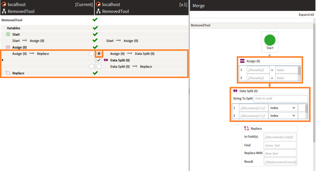Assign - Data split connector as seen in merge workflow article