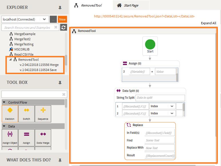 Saved Merge as seen in the Merge workflow article