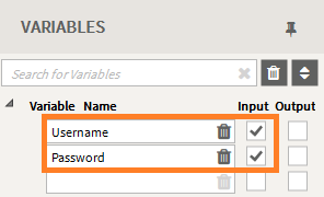 Creating an API - Add Username and Password to Variables list