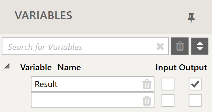 In the Variable list, mark it as output.